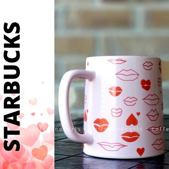 SB Lips Hearts Valentines 2021 Coffee Cup 14oz NWT